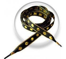 Lacets noirs pois brodés dorés