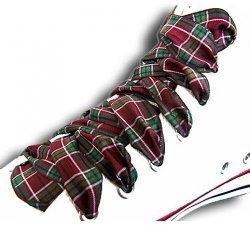 Lacets à carreaux écossais bordeaux vert