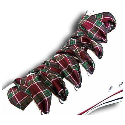 Lacets à carreaux écossais bordeaux et vert