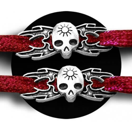 Set 2 décorations barres 3 crânes argentés