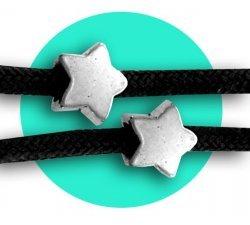 Set 2 décorations de lacets étoiles argentées