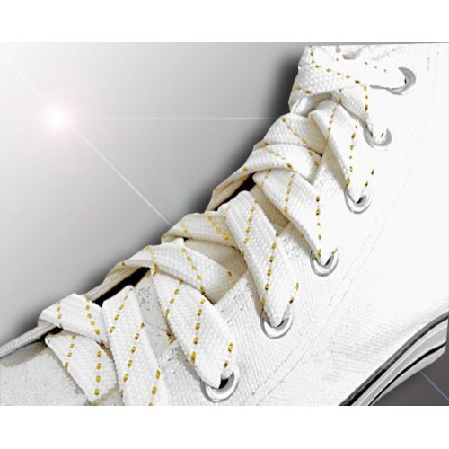 Lacets blancs fils dorés