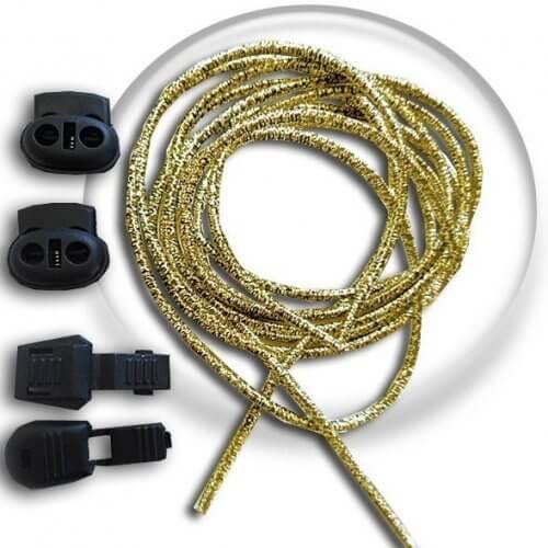 Lacets élastiques autobloquants dorés sans noeud