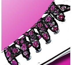 Lacets dentelle noire fleurs roses