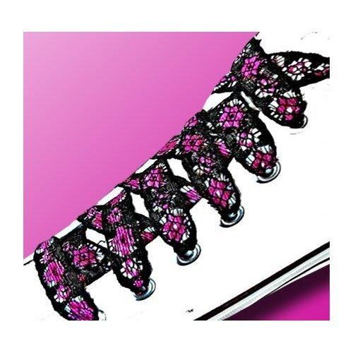 Lacets en dentelle noire à fleurs