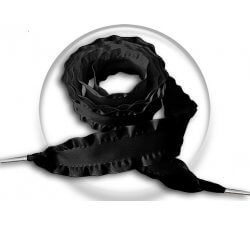 Lacets XL ruban satin noir plissé