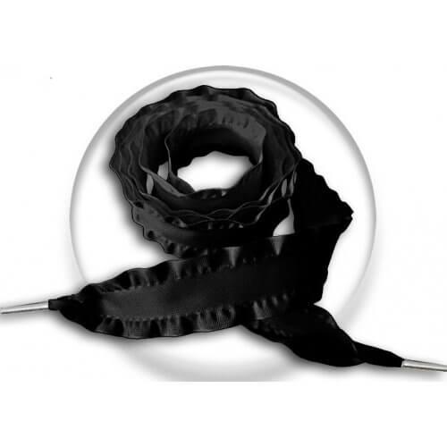 Lacets larges satin noir plissé