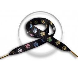 Lacets noirs papattes multicolores