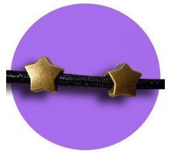 Set 2 décorations de lacets étoiles bronzes