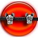 Set 2 décorations de lacets têtes chiens argentés