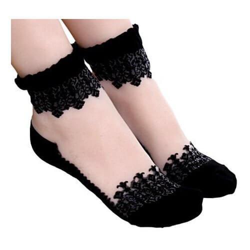 chaussettes transparentes noires