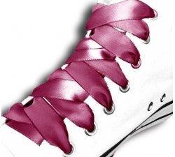 Lacets ruban satin rose framboise