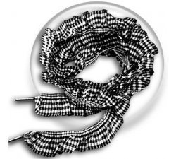 Lacets froufrous vichy blanc noir