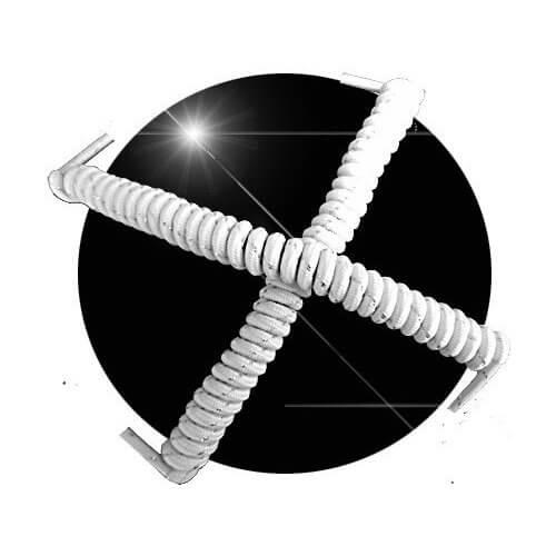 Lacets ressorts élastiques argentés et blancs