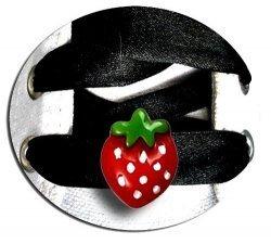 Set 2 décorations de lacets fraises rouges