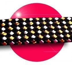 Lacets noirs points facettes argentées dorées