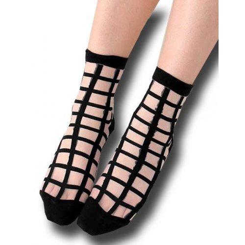 chaussettes transparentes carreaux noirs
