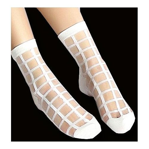 chaussettes transparentes carreaux blancs