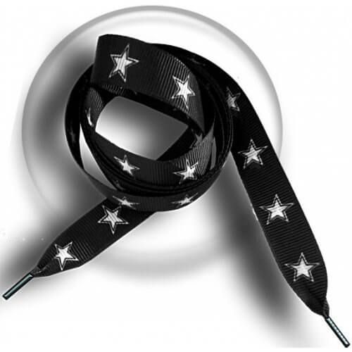 Lacets noirs étoiles blanches