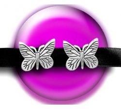 Set 2 décorations de lacets papillons argentés