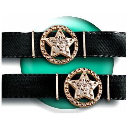 Set 2 décorations de lacets étoiles shérif dorées