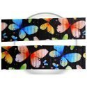 Lacets noirs papillons colorés