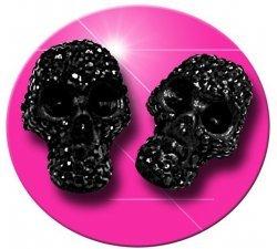 Set 2 décorations crânes noirs facettes