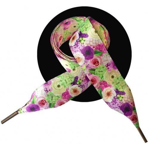 Lacets XL en satin jardin de roses