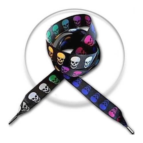 Lacets noirs têtes de morts colorées