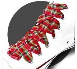 Lacets larges écossais rouges