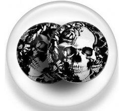 Set 2 décorations de lacets crâne dentelle noire