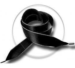 Lacets XL ruban satin noir & argenté