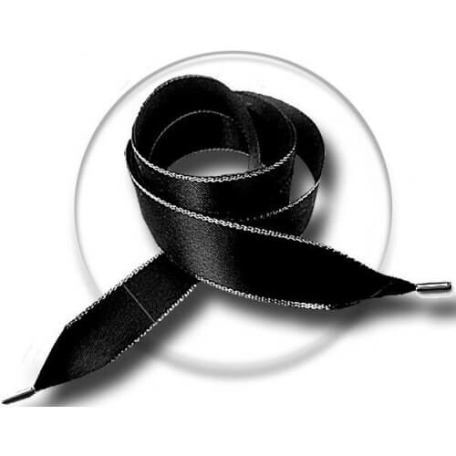 Lacets XL en satin noir argenté