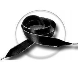 Lacets en satin noir argenté