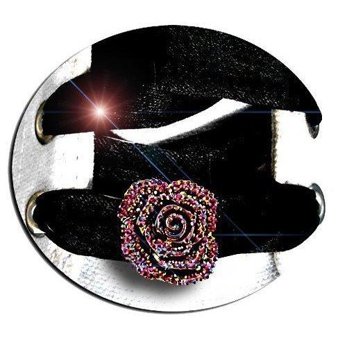 Set 2 décorations de lacets fleurs facettes colorées