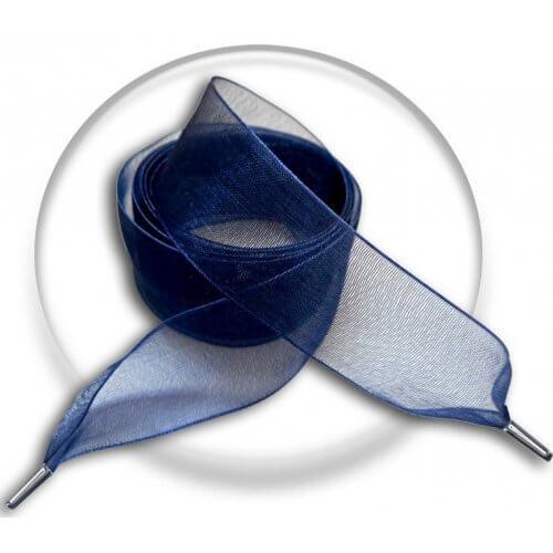 Lacets ruban organza bleu marine
