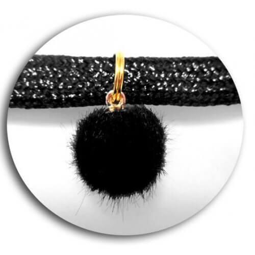 Set 2 décorations de lacets pompons ronds noirs