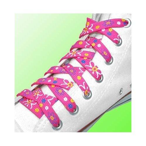Lacets en rose bonbon à fleurs