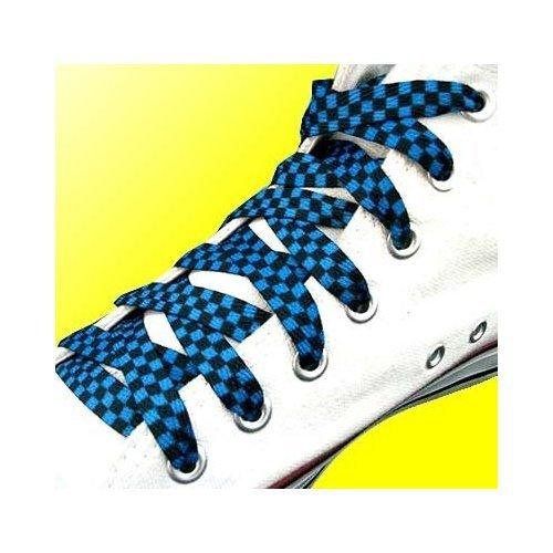 Lacets à carreaux/damier en noir et bleu