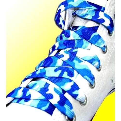 Lacets camouflage en bleu et blanc