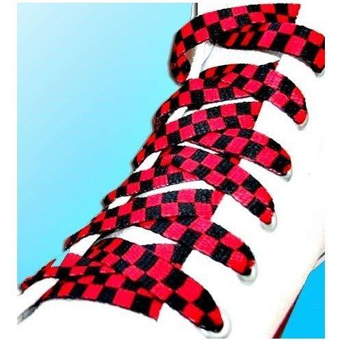 Lacets à carreaux/damier en rouge et noir