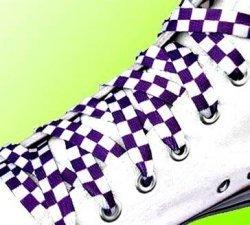 Lacets à carreaux/damier en blanc et violet