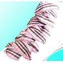 Lacets ruban écossais tartan rose