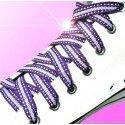 Lacets métallisés en violet, blanc et argenté