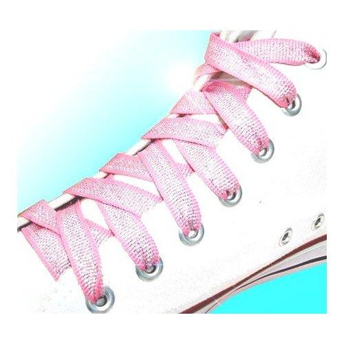 Lacets métallisés en rose et argenté