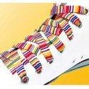 Lacets rayures fines en blanc rouge jaune bleu