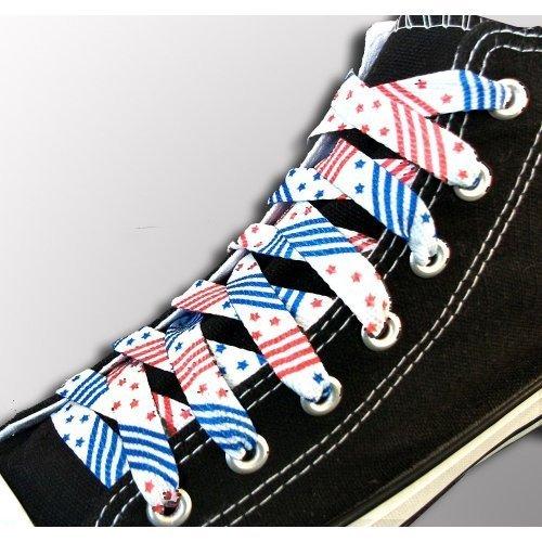 Lacets blancs drapeaux USA