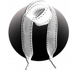 Lacets ruban blanc surpiqué de noir