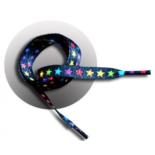 Lacets en noir étoiles multicolores