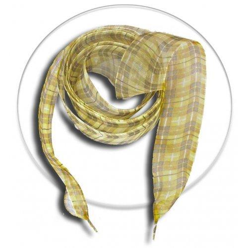 Lacets en ruban carreaux beiges marrons jaunes